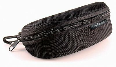 Flying Fisherman Zipper Shell Sunglass Case, Belt Loop and Clip (Black)
