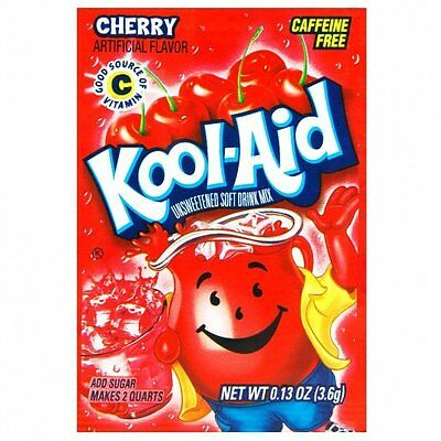 Kool-Aid Cherry Unsweetened Soft Drink Mix, 0.13-Ounce Envelopes(Pack of 48