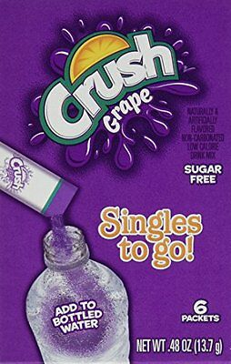 Grape Crush Sugar Free Singles to Go ! Box of 6 Packets (6-Pack)