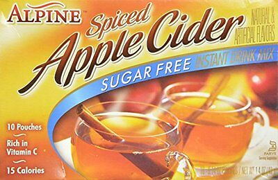 Alpine Spiced Cider, Sugar-free Apple Flavor Drink Mix, 1 Box of 10 Pouches