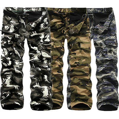 Military Men's Cotton Cargo Pants Combat Camouflage Camo Army Long Trousers New