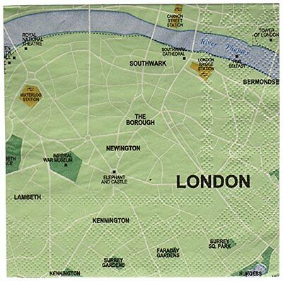 Design Ideas Mapkin, 5x5, Package of 20 Napkins, London