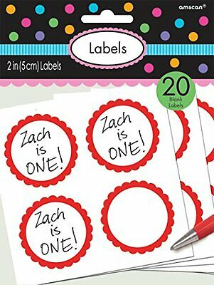 Apple Red Scalloped Labels 20ct