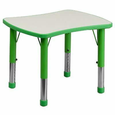 Flash Furniture Adjustable Rectangular Plastic Activity Table with Grey Top