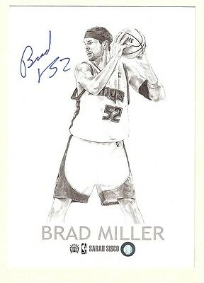 Brad MILLER 5x7 AUTO/Autograph Sacramento KINGS Authentic Drawing SIGNED