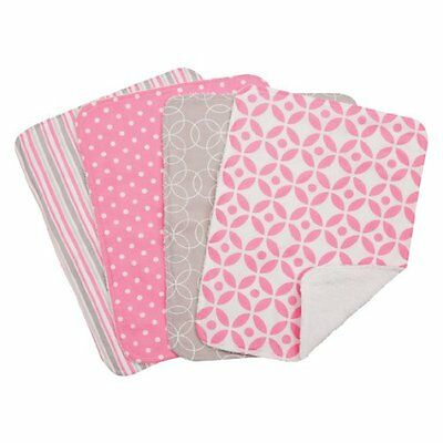 Trend Lab Lily Burp Cloth Set, Pink, 4 Count