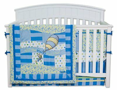Trend Lab Dr. Seuss 4 Piece Crib Bedding Set, Oh! the Places You'll Go! Blu