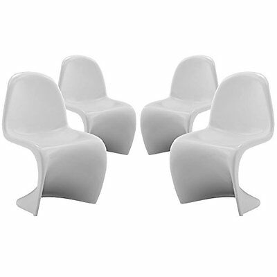LexMod Slither Kids Chair, White, Set of 4