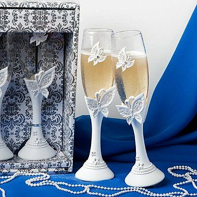 Butterfly Themed Wedding Toasting Flutes, 2