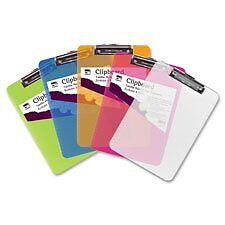 Charles Leonard Plastic Clipboard, Low Profile Clip, Letter Size, Transpare