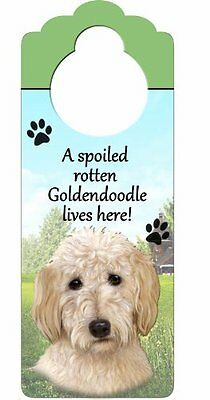 """Goldendoodle Wood Sign """"A Spoiled Rotten Goldendoodle Lives Here""""with Artis"""