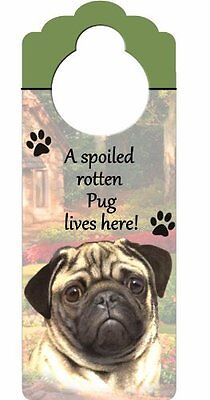 """Pug Wood Sign """"A Spoiled Rotten Pug Lives Here""""with Artistic Photograph Mea"""