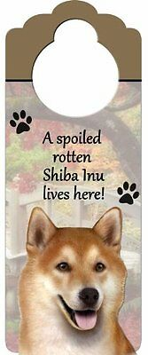 """Shiba Inu Wood Sign """"A Spoiled Rotten Shiba Inu Lives Here""""with Artistic Ph"""