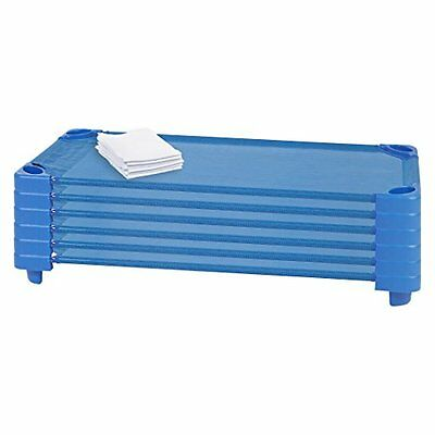ECR4Kids Stackable Ready To Assembled Kiddie Cot with Sheet, Standard Size,