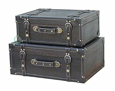 Quickway Imports Antique Style Leather Suitcase with Straps, Black