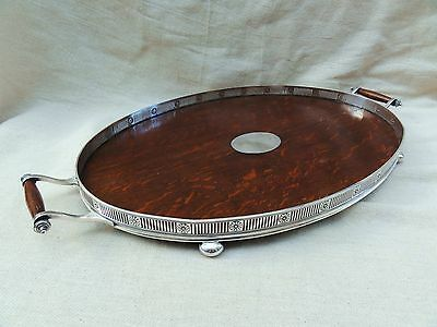 A Silver Plate & Oak Tray by Mappin & Webb