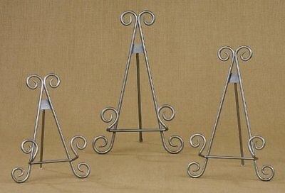 """13"""" Silver Finish Stratford Metal Easel Plate Display Photo Holder Stand"""