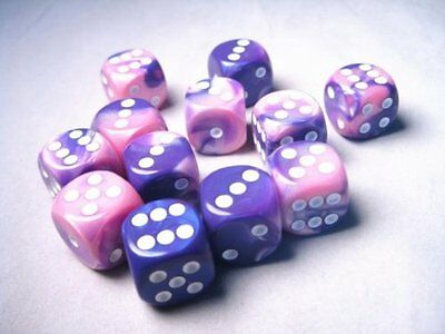 Chessex Dice d6 Sets: Gemini Pink & Purple with White - 16mm Six Sided Die