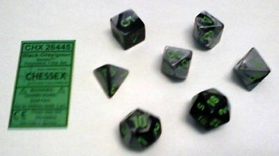 Chessex   Polyhedral 7-Die Gemini Dice Set: Black & Grey with Green (d4, d6