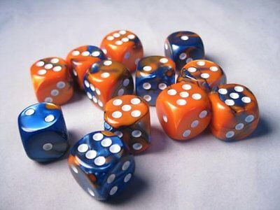 Chessex Dice d6 Sets: Gemini Blue & Orange with White - 16mm Six Sided Die