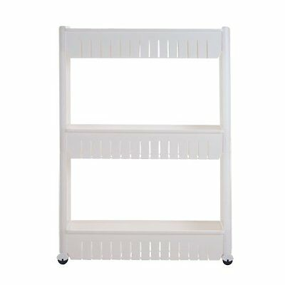 Trademark 82-3LSS 3-Tier Slim Slide Out Pantry on Rollers, White
