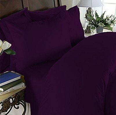 1200 Thread Count Queen Size 4pc Egyptian Bed Sheet Set, Deep Pocket, EGGPL