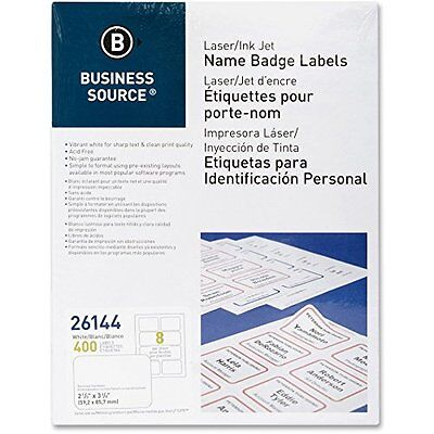Business Source 26144 Name Badge, Laser, 2-1/3 in.x3-3/8 in., 400/PK, White