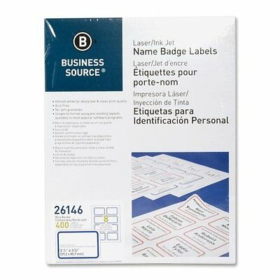 Business Source 26146 Name Badge, Laser, 2-1/3 in.x3-3/8 in., 400/PK, White