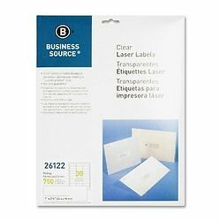 Business Source 26122 Mailing Labels, Laser, 1 in.x2-3/4 in., 750/PK, Clear
