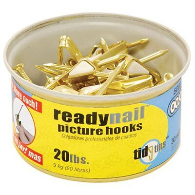 OOK 50607 ReadyNail Conventional Brass Picture Hook Tidy Tin Supports Up to