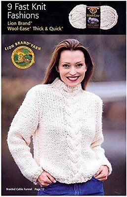 Lion Brand 9 Fast Knit Fashions Wool Ease T and Q