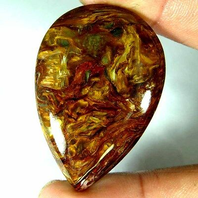 48.35Cts. 100% NATURAL CHATOYANT GOLDEN PIETERSITE PEAR CABOCHON LOOSE GEMSTONES
