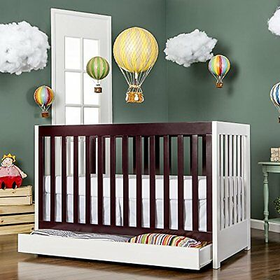 Dream On Me Milano 5 in 1 Convertible Crib in White and Chocolate
