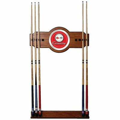 Trademark Corvette C1 2-Piece Wood and Mirror Wall Cue Rack (Red)