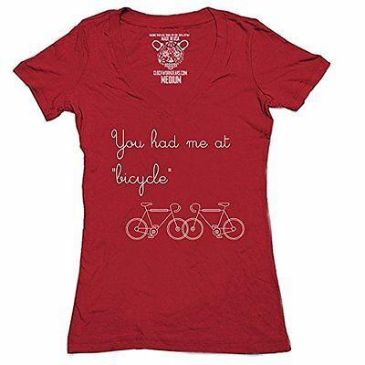 Clockwork Gears for Women's You Had Me at Bicycle Cycling T-Shirt, Red, X-L