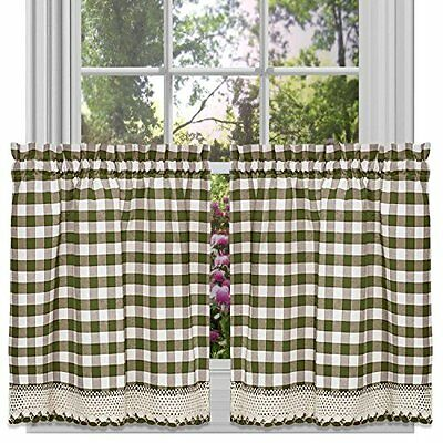 Achim Home Furnishings Buffalo Check Tier Pair, 58-Inch by 24-Inch, Sage