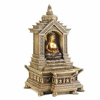 Koehler Golden Buddha Temple Faux Stone Tabletop Centerpiece Resin Water Fo