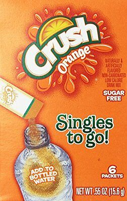 Orange Crush Sugar Free Singles to go 6 packets New just add to water bottl
