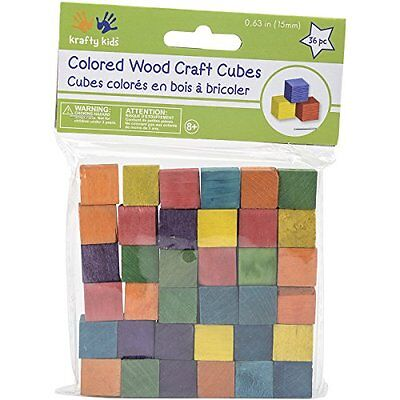 "Craftwood Wooden Cubes 5/8"" 49/Pkg-Colored"