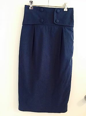 Cue size 8 high waisted navy skirt