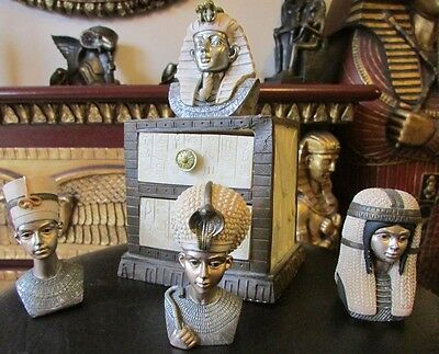 Egyptian Trinkets Boxes KING PHARAOH Tutankhamun - by Regency Fine Art & 3 HEADS