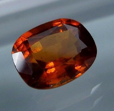 3.7 Ct.Natural Reddish Orange Hessonite Garnet 10.2x8.2 MM Cushion Cut LUSTEROUS