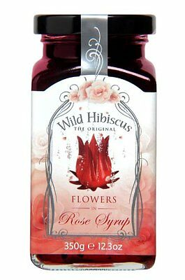 Wild Edible Hibiscus Flowers in Rose Syrup - 12.3 Oz Jar