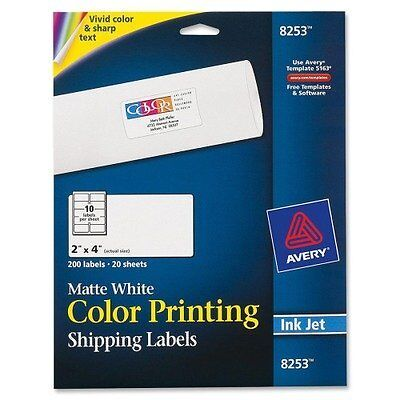 NEW - Inkjet Labels for Color Printing, 2 x 4, Matte White, 200/Pack - 8253