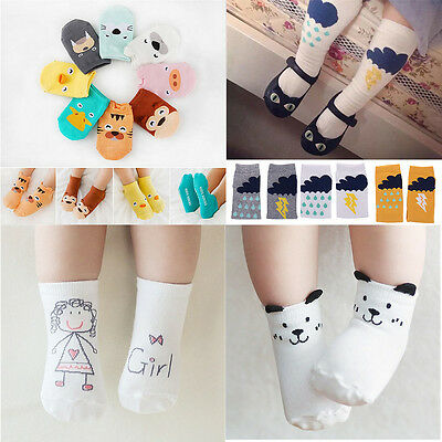 Soft Newborn Baby Girl Boy Anti-slip Socks Animal Ankle Knee High Infant Toddler
