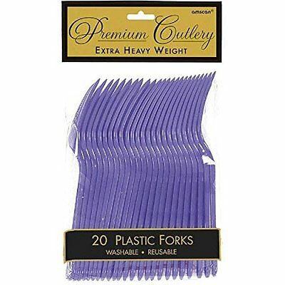 Heavy Weight Plastic Fork Purple Package of 20