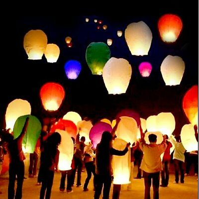20 PCS Sky Lanterns Paper Lanterns Chinese Wishing Lantern For Birthday Wed