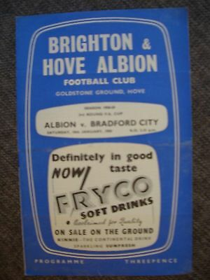 1959..BRIGHTON & HOVE ALBION v BRADFOED CITY..F.A...Cup 3rd rdFootball Programme