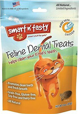 Smart n' Tasty Cat Chicken Dental Grain Free Treats, 3-Ounce