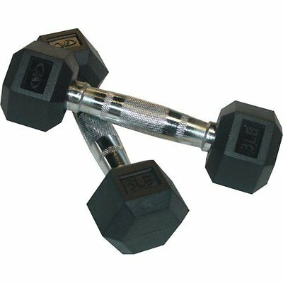 Valor Fitness Rubber Hex Dumbbell's Pair, 3-Pound